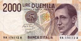 "ITALY 2000 LIRE 1990 P-115 VF ""free Shipping Via REGULAR Air Mail (buyer Risk)"" - [ 2] 1946-… : Republiek"