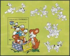 [91419]SUP//**/Mnh-DOMINICA - Walt Disney - Donald, Ririe, Fifi Et Loulou, Noël Sur La Montagne De L'Ours, B.D, Le Bloc - Disney