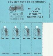 CAPCIR - COMMUNAUTE DE COMMUNES - CARTE 10 ENTREES - ADULTES - SAISON 2004-2005 - Tickets - Entradas