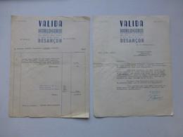 Besançon, 1947 Horlogerie VALIDA, Lot 2 Factures Montre Numérotée Ref 587 ; PAP06 - 1900 – 1949