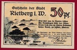Allemagne 1 Notgeld De 50 Pfenning Stadt Rietberg (RARE) Dans L 'état N °4570 - [ 3] 1918-1933 : République De Weimar
