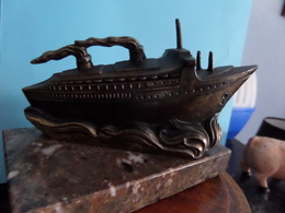 """"""" FRANCE """" En CUIVRE / KOPER Op/au Pied MARBRE ( +/- 490 Gr. / L +/- 11 Cm. ) Bateau / Navire / Ship ( See Photo ) ! - Boten"""