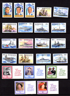 Barbade 1986-94, Elisabeth II, Communauté Caraïbe, Navires, 646 / 650 Et 886 / 902**, Cote 59 €, - Barbades (1966-...)