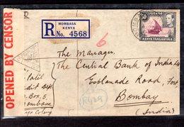 Zensurbrief Einschreiben Von Uganda Nach Indien, 1941 - Briefmarken