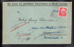 """B&M, Sudetenland, Fernbrief Mit Notstempel """"Markt Türnau"""", Weitergeleitet. - Besetzungen 1938-45"""