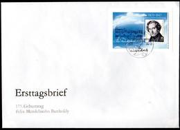 "DDR, FDC Block ""175. Geburtstag Von Felix Mendelssohn Bartholdy"" - FDC: Briefe"