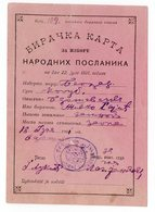 18.07.1901 VOTING CARD FOR MEMBER OF PARLIAMENT, BARANAOVAC MUNICIPALITY - Historical Documents