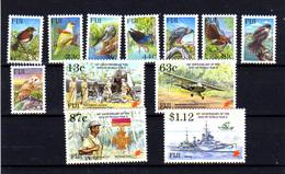Fidji 1995, Fin Guerre Mondiale, Oiseaux, 743 / 754**, Cote 28,50 € - Fidji (1970-...)
