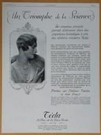 1926 Tecla (bijoux, Portrait De Femme Avec Un Collier De Perles) - Coffres-forts Bauche - Parfum L.T. Piver - Publicité - Publicités