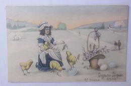 Ostern, Kinder, Mode, Küken, Korb, Blumen, Eier,    1910, Vienne Munk  ♥  - Ostern