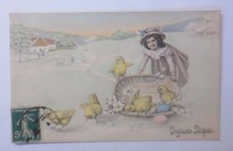 Ostern, Kinder, Mode, Küken, Korb, Ostereier,  1909, Vienne Munk  ♥  - Ostern