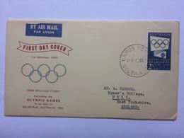 AUSTRALIA 1954 Olympic Games FDC - 1952-65 Elizabeth II: Dezimalausgaben (Vorläufer)