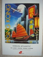 Avion / Airplane / VIRGIN ATLANTIC / Hong Kong / Advertising Card / Pub / Airline Issue - 1946-....: Ere Moderne
