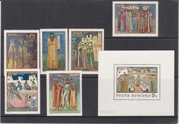 ROMANIA -1970- FRESCOS FROM MOLDAVIEN MONASTIERES  Full Issue- Set 6 Val + S/S(block)  MNH** - 1948-.... Républiques