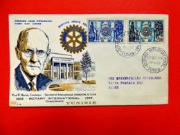 Tunisie - Premier Jour - Tunis - 14/5/1955 - N°390/394 - Cinquantenaire Du Rotary - Paul Percy Harris - Tunisie (1888-1955)