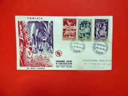Tunisie - Premier Jour - Tunis - 15/10/1955 - N°396/398/400 - Broderie Poterie Parfumerie - Tunisie (1888-1955)