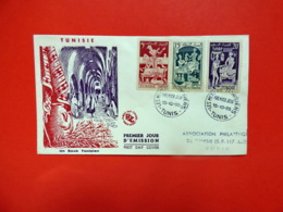 Tunisie - Premier Jour - Tunis - 15/10/1955 - N°396/398/400 - Broderie Poterie Parfumerie - Tunesië (1888-1955)