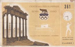 Jeux Olympiques D'été 1960  Rome - Tickets D'entrée