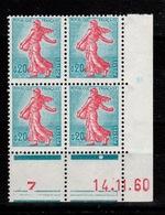 Coin Daté - YV 1233 N** Semeuse , Coin Daté Du 14.11.60 - 1960-1969