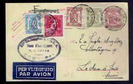 """CP 128 II  + 420 +426 + 691 + 715 Kortijk (touristique) 16.9.46 => Lachaux-de-Fonds ( Suisse ) Et. """" Par Avion Froissée - Postwaardestukken"""