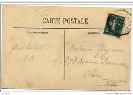 """Rare Cachet Ambulant """"LYON A GANNAT B"""" Semeuse Indice Pothion =11 Frappe Faible Cp Lyon - Poste Ferroviaire"""