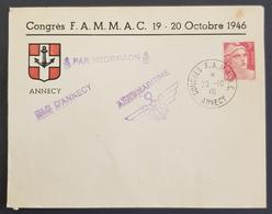 1946 Cover, Enveloppe Par Hydravion Lac D'Annecy, Aeromaritime, Congrès F.A.M.M.A.C., Republique Française, France - Frankrijk