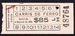Tramway Ticket, Portugal -  CARRIS FERRO Lisboa / 30's To 40's - Subway