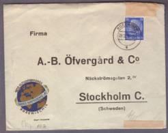 Lettre  Obl. Rodewisch 20.12.1939 ->Stockholm - Zensur/censored/censure Hambourg - Alemania