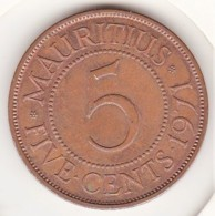 Mauritius 5 Cents 1971. Elizabeth II. Bronze. KM# 34 - Mauricio