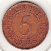 Mauritius 5 Cents 1945 , George VI Bronze. KM# 20 - Mauritius