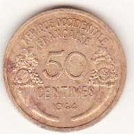 Afrique Occidentale Française. AOF. 50 Centimes 1944. Colonies Françaises. Bronze Aluminium - Monedas