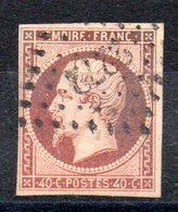 FRANCE - YT N° 16 - Cote: 22,00 € - Orange Carmin - 1853-1860 Napoleone III