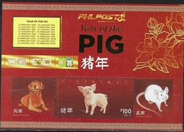PHILIPPINES, 2019, MNH, YEAR OF THE PIG, CHINESE NEW YEAR, DOGS, RATS, SHEETLET II - Chinese New Year