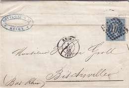 *LAC: NAPOL. LAURÉ N°29 SEUL SUR LETTRE 20 C-G C 3103 REIMS- RECTO/VERSO - 1863-1870 Napoleon III With Laurels