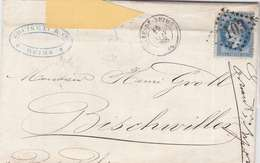 *LAC: NAPOL. LAURÉ N°29 SEUL SUR LETTRE 3103 GARE DE REIMS- 20 C LOSANGE- RECTO/VERSO - 1863-1870 Napoléon III Con Laureles