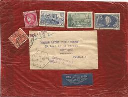 50FR ADER + CERES +N°394+392 LETTRE REC AVION PACKAGE PARIS RP BB 4.4.1940 POUR USA TAXE 10C RARE - Storia Postale