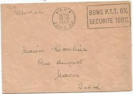 LETTRE MECANIQUE SECAP BONS PTT 6% Pp 18.10.1958 PARIS  62 - Marcophilie (Lettres)