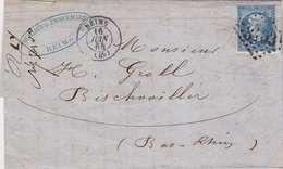 *LAC: NAPOL. DENTELÉ N°22 SEUL SUR LETTRE GC 3103 REIMS- 20 C LOSANGE- RECTO/VERSO - 1862 Napoleon III