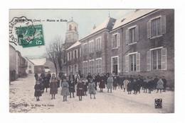 Perrigny.39.Jura.Mairie Et Ecole.1908.Cachet Ambulant De Lons-le-Saunier à Clairvaux. - Autres Communes