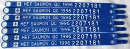 7 BRACELET MARQUAGE ETIQUETTE PECHE SPORTIVE AU SAUMON ATLANTIQUE MONTREAL QUEBEC CANADA FLEURS DE LYS - Pêche