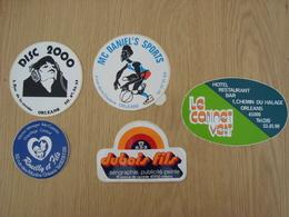 LOT DE 5 AUTOCOLLANTS ORLEANS DUBOIS DISC 2000 LE CABINET VERT MC DANIEL'S - Stickers