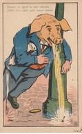 CPA Animal Humanisé Position Humaine Cochon Saôul Qui Vomit Porc Pig Illustrateur AP. JARRY ? (2 Scans) - Pigs