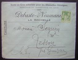 La Rochelle (Charente Inférieure) 1899 Debaste Neumann Mercerie Bonneterie Allumettes Chimiques Pour Tesson Par Gémozac - Marcophilie (Lettres)
