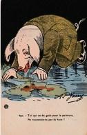 CPA Animal Humanisé Position Humaine Cochon Peinture Hure Porc Pig Humour Illustrateur AP. JARRY (2 Scans) - Pigs