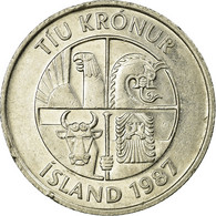 Monnaie, Iceland, 10 Kronur, 1987, TB+, Copper-nickel, KM:29.1 - Islande