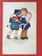 MEISSNER & BUCH - 2 MEISJES MET EEN BLOEMENRUIKER - 2 FILLETTES AVEC FLEURS - Illustrators & Photographers