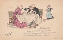 CPA Animal Humanisé Position Humaine Cochon à Table Qui S'empiffrent Porc Pig Illustrateur (2 Scans) - Pigs