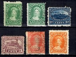 Nouveau-Brunswick Six Timbres Anciens 1860/1863. Bonnes Valeurs. A Saisir! - Nouveau-Brunswick