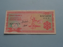 20 Vingt FRANCS - AMAFRANGA MIRONG'IBIRI ( BZ872979 ) 01-10-91 ( For Grade, Please See Photo ) ! - Burundi
