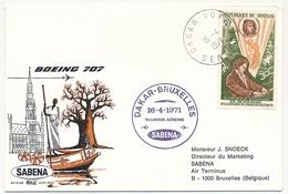 BELGIQUE - 2 Enveloppes SABENA - 1ere Liaison Aérienne - DAKAR - BRUXELLES 16/4/1971 Et Aller 13/4/1971 - Senegal (1960-...)